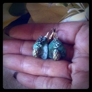 Vintage Verdigris Patina Brass Pineapple Earrings